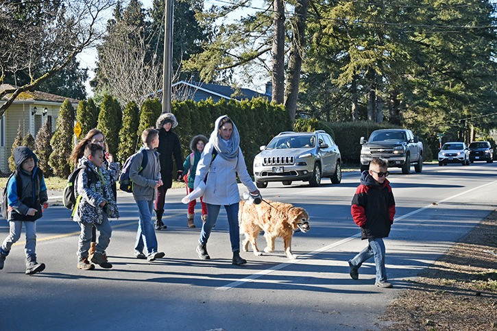Heidi Blatt walks a group of Langley Fine Arts students, Grades 2 to 5, across 96 Avenue between Crickmer Court and Edal Street on Wednesday afternoon. Blatt says it makes her uneasy having to dash across the busy road every morning and afternoon during the school week.