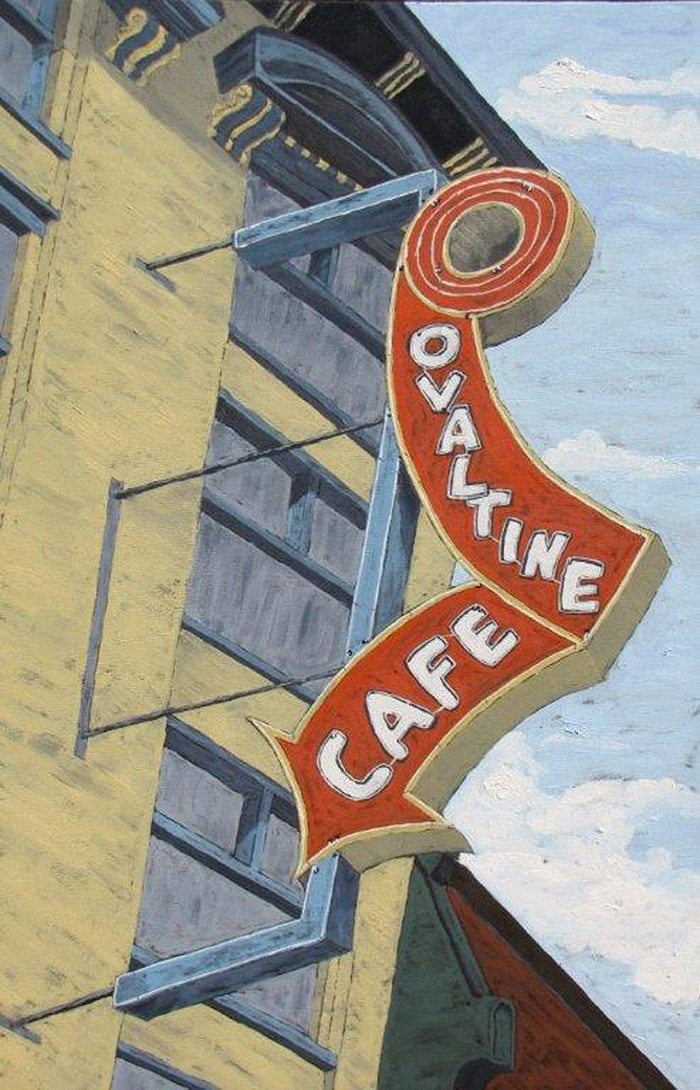 Ovaltine Cafe, by Robert Wakefield, above, and Black and White Iris, by Bette Laughy , below, are among the pieces that will be on display at the Fort Gallery, from July 31 to Aug. 15. The Fort Gallery is located at 9048 Glover Rd.