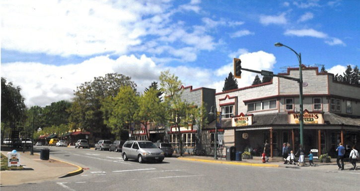The effects of removing wiring and poles from Fort Langley's commercial area is demonstrated in this photo, which has been edited to remove poles and wires from the commercial area.