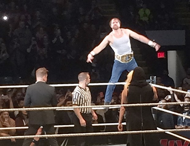 WWE Intercontinental Champion Dean Ambrose gets the crowd pumped up before his 'triple threat' match against the Miz and A.J. Styles Monday night at Abbotsford Centre.