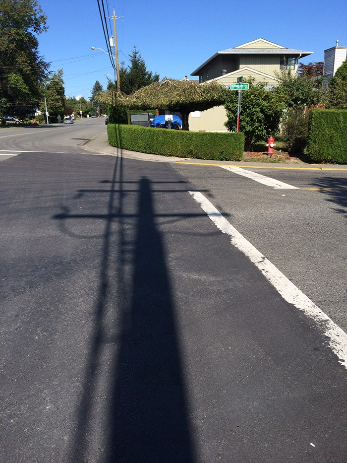 Langley Meadows parent April Ferguson would like to see the Township spend part of its traffic calming budget on a crosswalk near her children's school that was patched but not repainted.