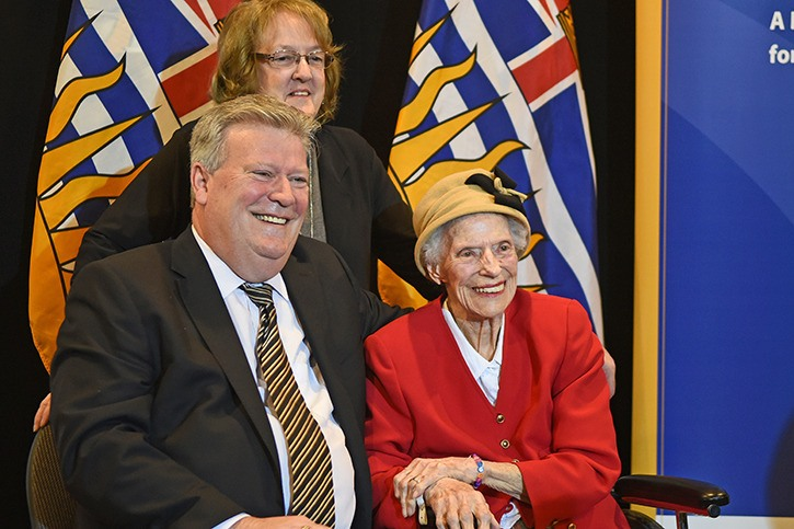 MLA Rich Coleman with Jeannine McCarthy and Dorscie Paterson during the funding announcement for a new 15-bed hospice.