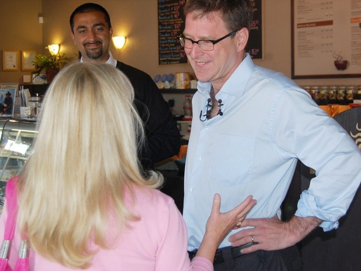 NDP leader Adrian Dix paid a visit to Langley Tuesday morning, making a last-minute effort to encourage people to cast ballots in the HST referendum. Ballots must be in the hands of Elections BC by 4:30 p.m. Friday.