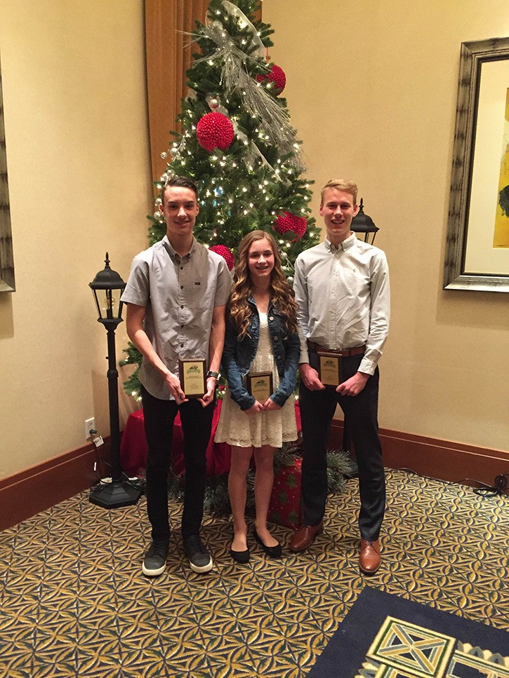 Left to right: Jordan Schmidt, Brooke Mussche and Nicholas Colyn were among the Langley Mustangs recognized at the B.C. Athletics banquet.