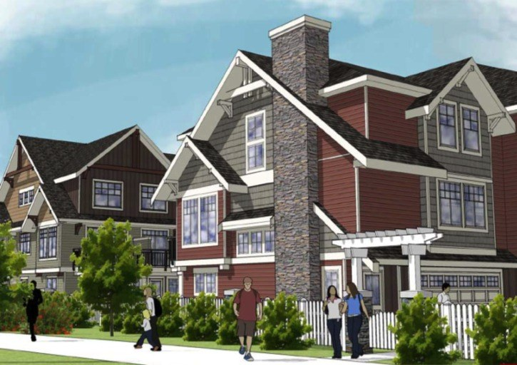 Architectural drawing of townhouse project proposed for former Langley school site.