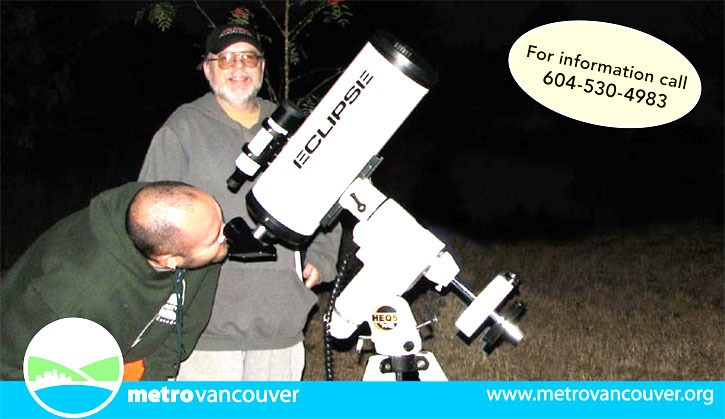 Amateur astronomers will be gazing into the skies all night Saturday-Sunday at Aldergrove Lake Park.