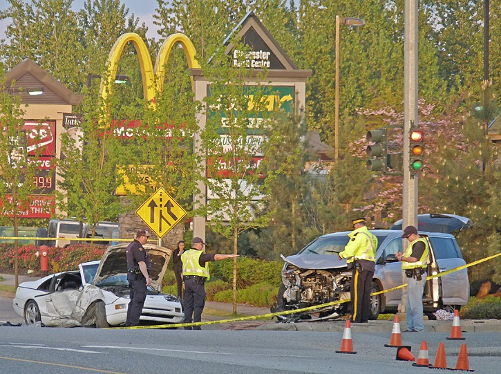 Accident investigators were at the scene of a serious multi-vehicle crash in Langley Tuesday.
