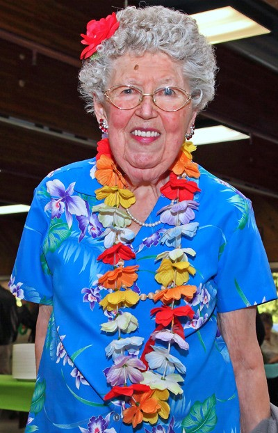 Marjorie Peeper was one of many people taking part in Langley Elks Club's annual Hawaiian pig roast, a fundraiser for the club. It took place Saturday night at George Preston Recreation Centre.