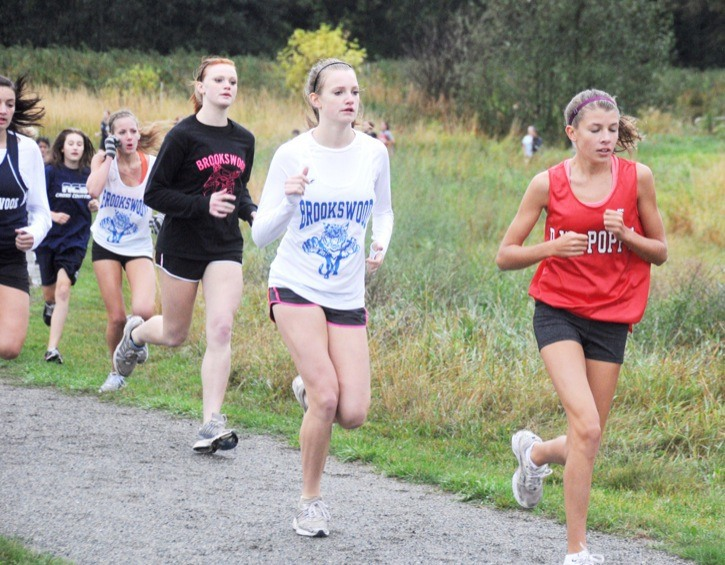 D.W. Poppy's Alex Johnson takes the lead over Brookswood's Jenelle Giesbrecht during a cross country race at Aldergrove Lake Park last week.