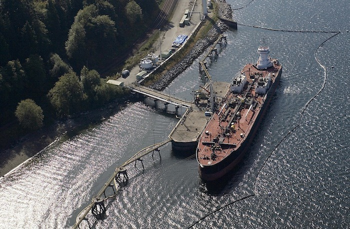 An oil tanker being loaded at Westridge Terminal at the end of the existing Trans Mountain pipeline in Burnaby.