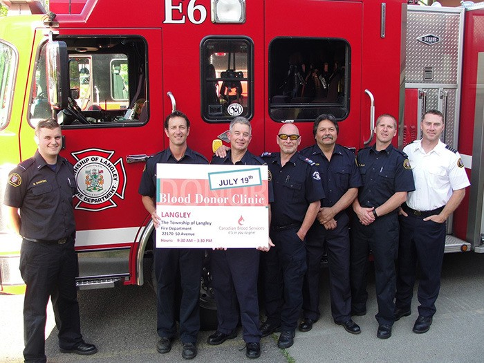 Members of the Township of Langley Fire Department are stirring the embers of friendly rivalry by challenging Abbotsford emergency responders to a blood donor challenge. Langley residents can give the gift of life by donating at the Murrayville Fire Hall on Sunday, July 19.