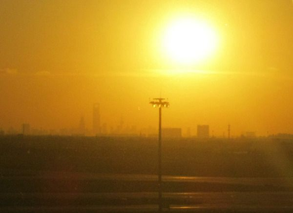 This sunset in Shanghai is an indication of how much coal dust is in the air.