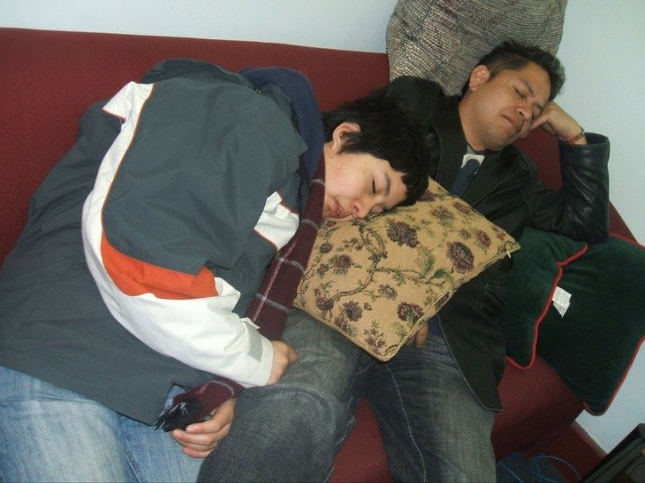 Jose Figuero and his son Jose Ivan get some rest during a recent break at Montreal's Concordia University.