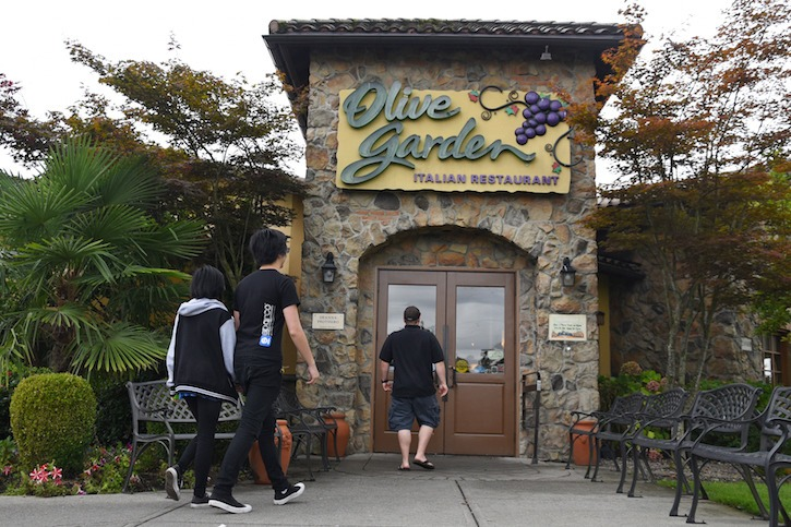Being the only Olive Garden in B.C., people still come from far and wide to the popular Langley restaurant which opened in 2001.