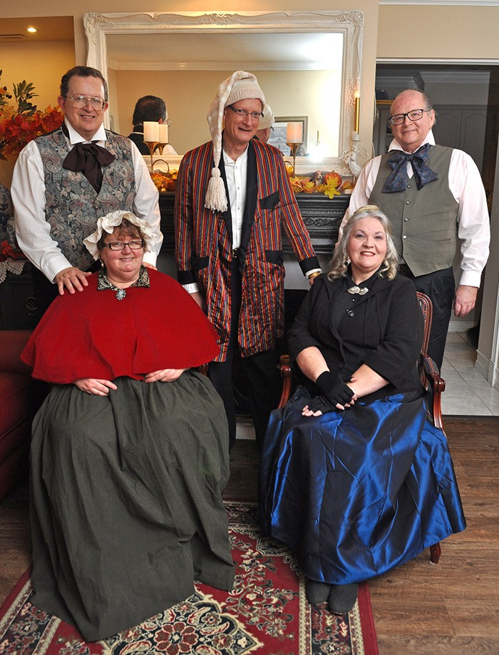 From left: Eric Hominick, Rose Hominick, Garnet Wolchok, Helen Wells and Peter van den Bosch are hosting a dramatic live reading of Charles Dickens' A Christmas Carol at The United Churches of Langley in Murrayville on Nov. 28.