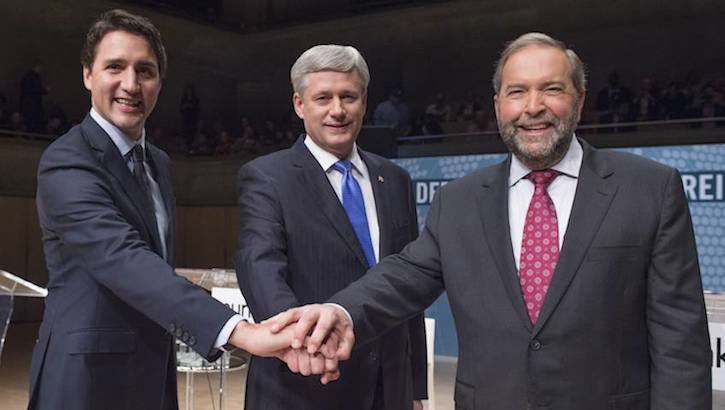 The federal election is today, October 19, and the leaders of Canada's three contending political parties – Justin Trudeau, Stephen Harper, and Tom Mulcair (left to right) – all have a legitimate chance to win at least a minority government. The election may come down to British Columbia, with all other Canadian provinces seemingly decided as the campaign wraps up.