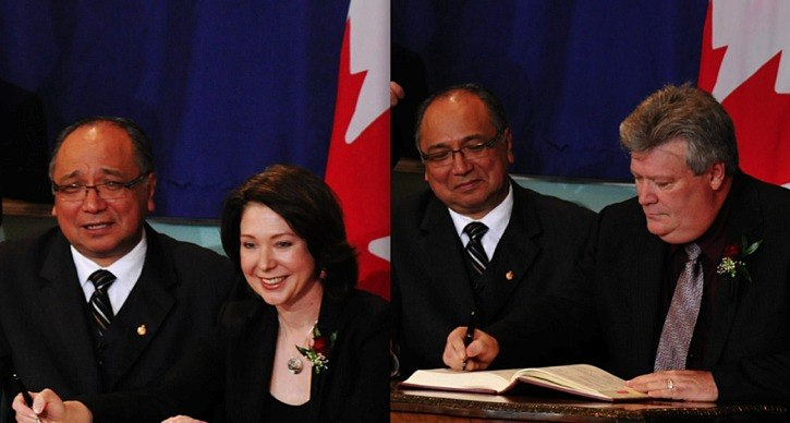 MLAs Mary Polak and  Rich Coleman are sworn in in front of Lieutenant Governor Steven Point in Victoria on Monday.