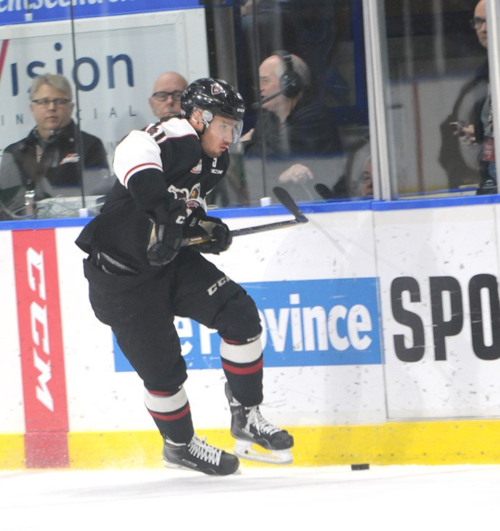 Radovan Bondra had three goals and an assist as the Vancouver Giants defeated the Prince Albert Raiders in WHL action at the Langley Events Centre on Nov. 16.