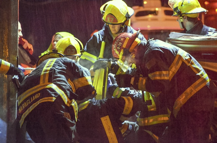 Rescue workers at the scene of the crash