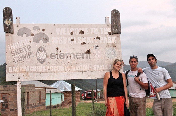 Hamilton Simon, centre, and Ben Miller, right, stand with an unidentified woman during their journey to South Africa. The Langley men went as part of the FUN delegation which traveled to Durban in conjunction with the recent COP 17 climate talks.