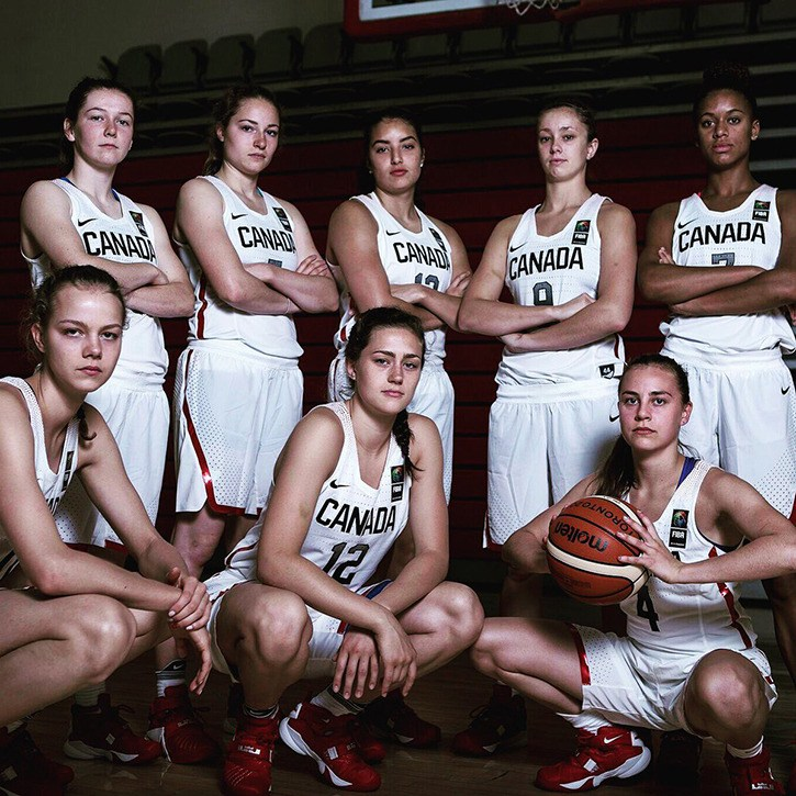 Langley's Aislinn Konig (back row, third from left) helped Canada win the silver medal at the FIBA world U18 basketball championships in Chile.