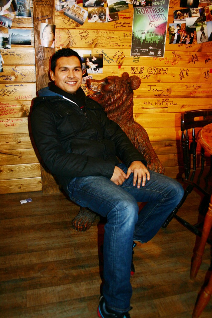 Adam Beach, star of CBC's new drama Arctic Air, sits inside an Aldergrove barn on a set intended to re-create Yellowknife's Bullocks Bistro. Much of the series, which premieres on Jan. 10 is shot in rural Langley, however some of the exterior scenes have been filmed in the Northwest Territory.