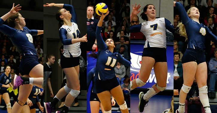 Five members of the Trinity Western Spartans women's volleyball team earned Canada West all-star awards.