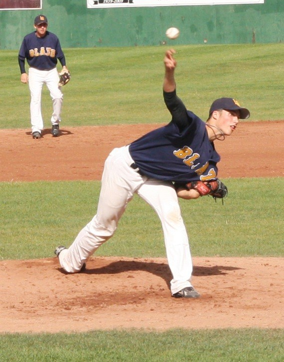 Langley Jr. Blaze pitcher Liam Stroud delivers a pitch during the B.C. Junior Premier Baseball League championship game on Sunday at Nanaimo's Serauxman Stadium.