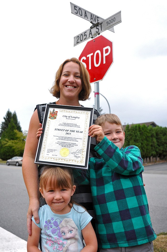 Sarah Atherton and her children Gavin, 6, and Emily, 4, have won the 2015 Street of the Year Award for their neighbourhood along 50A Avenue between 205A Street and 51A Avenue. The family will soon be celebrating with their neighbours at a block party, catered by Match Public House and Eatery.