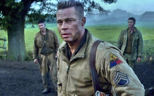 New Movies: Brad Pitt (middle) stars in 'Fury' – a World War II drama also starring Michael Pena, Shia LaBeouf, and Logan Lerman (right).