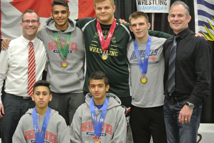 Members of the Langley United Wrestling Club  won three gold, one silver and one bronze medal at the B.C. high school provincial wrestling championships.