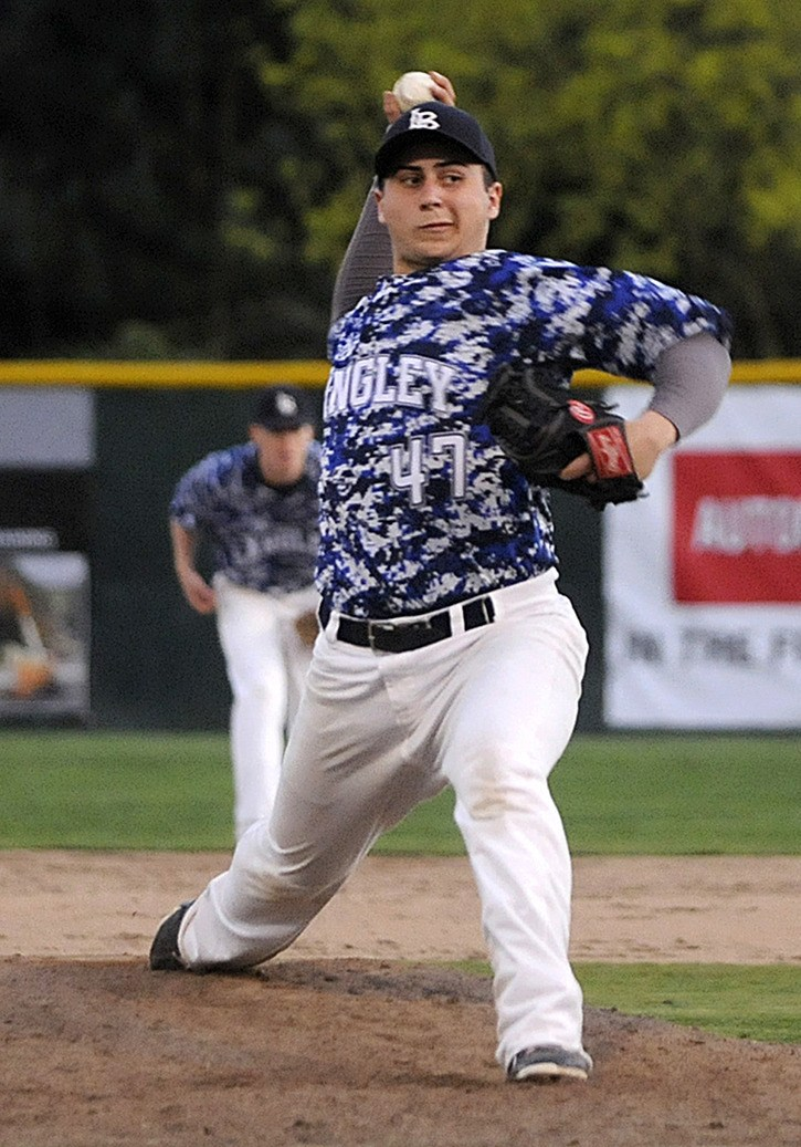 Langley Blaze's Jonathan Keltie delivers a pitch during the opening game of the 2014 B.C. Premier Baseball League season on April 11 at Delair Park.