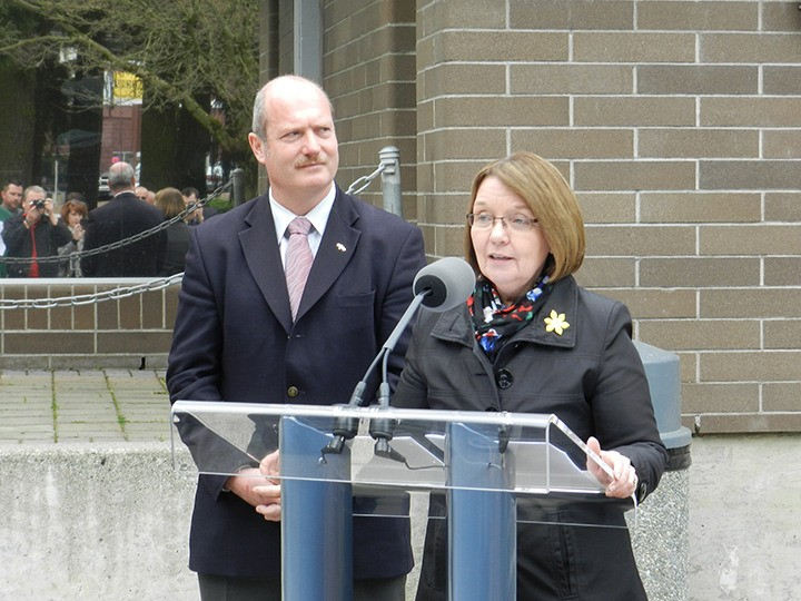 Minister of Justice and Attorney General Shirley Bond announces funding for a  Lower Fraser Valley Courts Regional Plan as Abbotsford MLA Mike de Jong looks on.