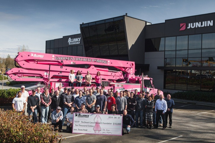 Aldergrove's Alliance Concrete Pumps filled a special order, painting a concrete truck pink upon request for a customer in New York. The order was to honour Jarrad Garone's wife Tara, a cancer survivor. The local company also presented a cheque for $10,000 to the Breast Cancer Research Foundation.