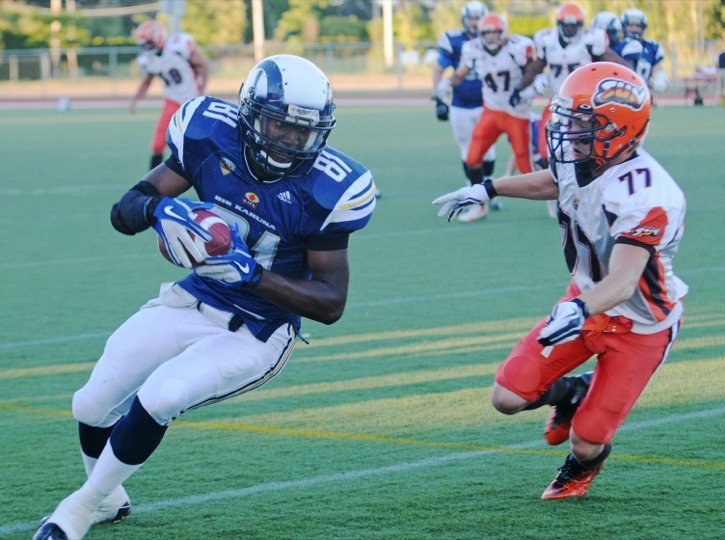 Langley Rams receiver Malcolm Williams (#81) caught five passes during his team's 34-3 victory over the Okanagan Sun on Saturday at McLeod Park, including his seventh touchdown of the season. Williams returned to the gridiron after sitting out last season.