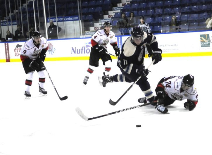 Langley Rivermen's Austin Azurdia (#11) was named the BCHL player of the week after picking up three goals and six points in the junior A hockey club's three games, which included a pair of victories.