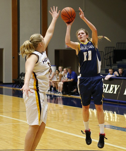 Trinity Western's Holly Strom set a new Spartan women's basketball single-season scoring record over the weekend. With two league games remaining, Strom has amassed 386 points on the season.