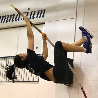 Rebecca Marchant trains at the new indoor pole vault facility at Trinity Western University.