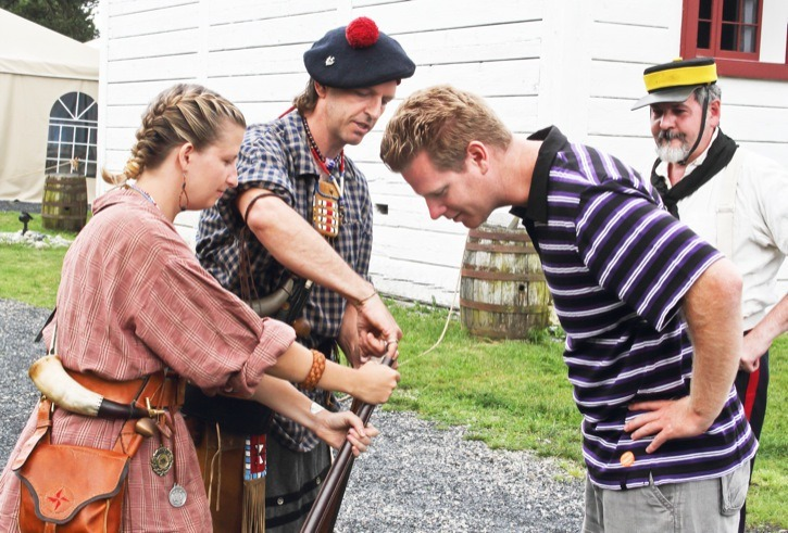 Fort Langley Brigade Days over the long weekend offered an opportunity for visitors to learn more about life in the early days of the Fort, as Erin Easingwood and Gord Macintosh demonstrate.