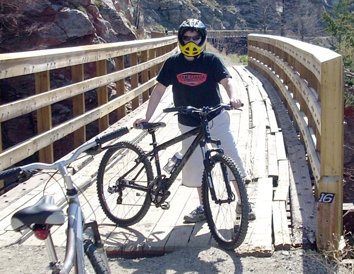 Braydon Walterhouse and his bike during a recent trip to the Kettle Valley.