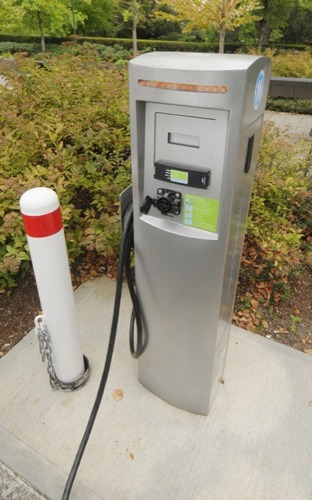 Electric car recharging stations such as this one outside Surrey City Hall will be located at several locations in the Township and City by the end of March, 2013.