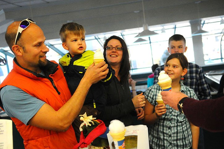 Two-year-old Elias Vandergugten and his family were on hand at the Langley City Dairy Queen on Monday afternoon. Dairy Queen was celebrating its 75th birthday by handing out free ice cream cones and collecting donations for the B.C. Children's Hospital Foundation.