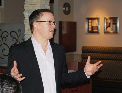 Kevin Falcon spoke to about 30 BC Liberal party members in Langley on Wednesday morning, as he enters the final days of the BC Liberal leadership campaign. Members will select a new party leader and premier on Saturday.