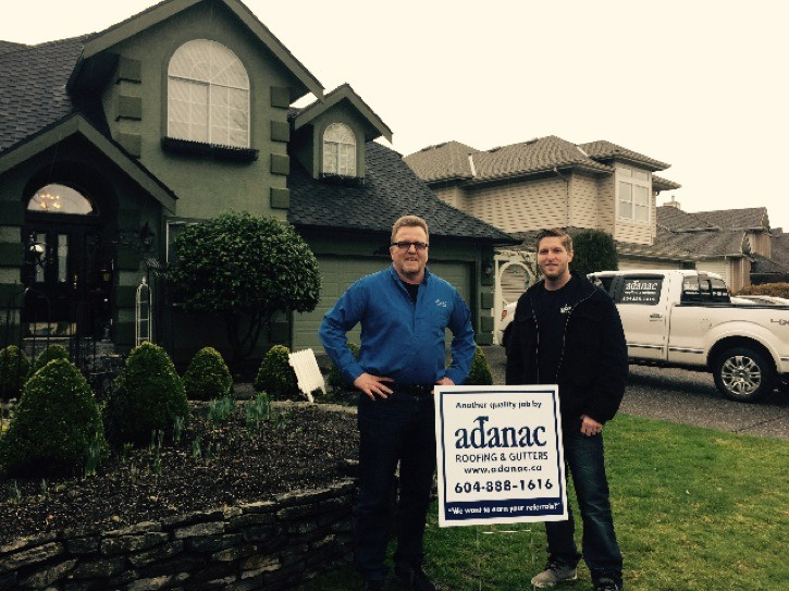 Dan Marr (left) and Cody Marr of Adanac Roofing and Gutters recently won a Best of B.C. HomeStars award.