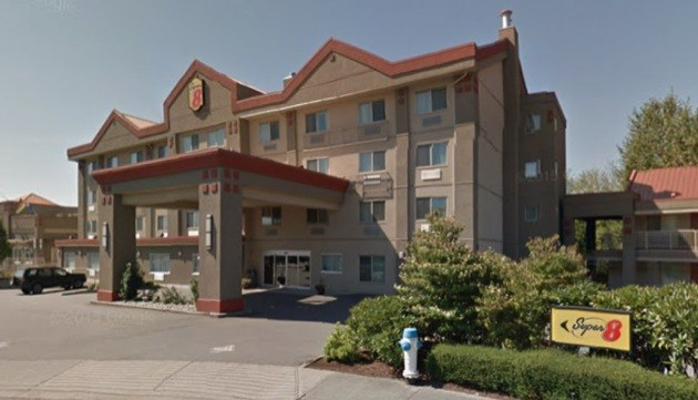 Super 8 Hotel in Abbotsford where 18-year-old Alex Gervais died last year.
