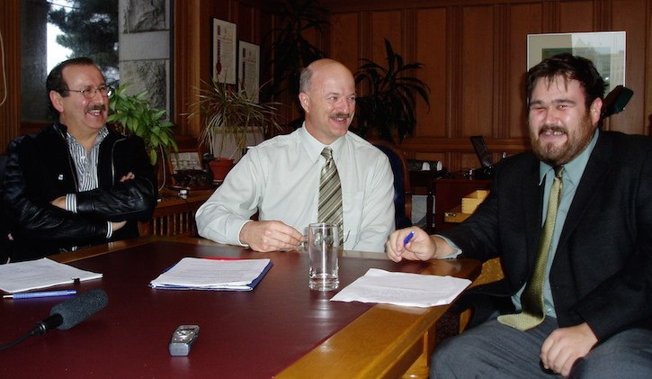 Coastal First Nations executive director Art Sterritt, then-forests minister Pat Bell and Central Coast aboriginal representative Dallas Smith meet in 2009 on what's become known as the Great Bear Rainforest agreement.