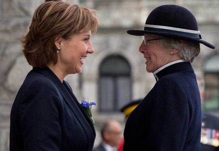 Premier Christy Clark meets Lt. Governor Judith Guichon for presentation of the throne speech at B.C. legislature.