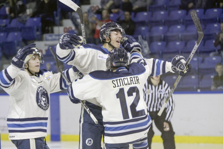 Langley Rivermen's Dominic Franco (centre) celebrates his second-period goal with Adam Sinclair and Cameron Ginnetti during the junior A hockey club's 5-0 victory over the Prince George Spruce Kings on Saturday night at the Langley Events Centre. The Rivermen were also in action the next afternoon, hosting the Wenatchee Wild, with the visitors winning 5-3 to leave Langley with a  2-1-0-0 mark on the season.