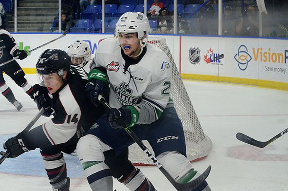 Vancouver Giants forward James Malm looked for room around the Seattle Thunbderbirds goal during Friday night's Western Hockey League game at the Langleiy Events Centre.