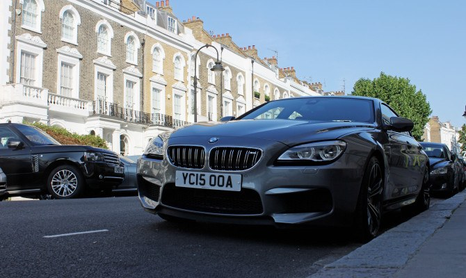 A BMW M6 Gran Coupe, parked in one of London, England's poshest neighbourhoods.